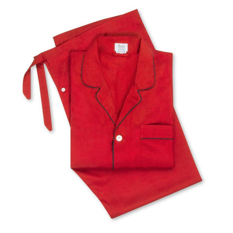 Budd Plain Silk Pyjamas in Red