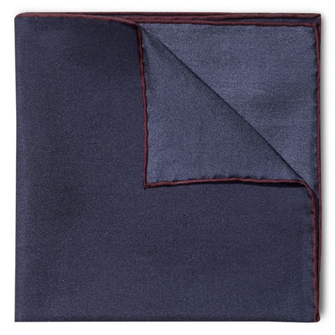 Budd Shoe Lace Silk Handkerchief in Navy & Wine-Pocket Square-Sterling-and-Burke