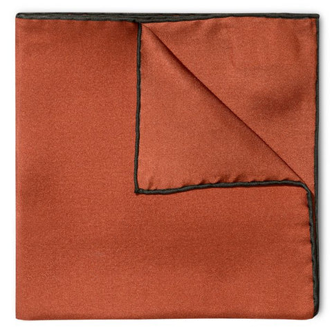 Budd Shoe Lace Silk Handkerchief in Copper & Green-Pocket Square-Sterling-and-Burke