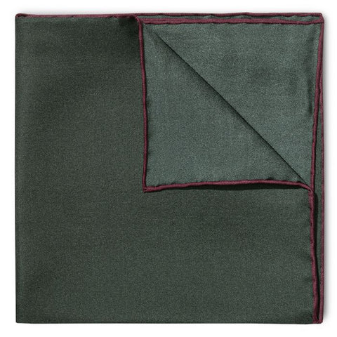 Budd Shoe Lace Silk Handkerchief in Green & Wine-Pocket Square-Sterling-and-Burke