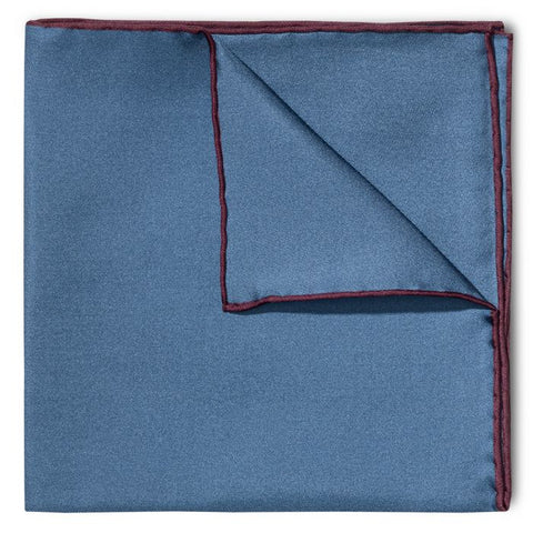 Budd Shoe Lace Silk Handkerchief in Blue & Wine