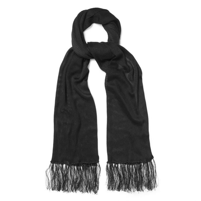 Budd Plain Knitted Silk Dress Scarf in Black-Scarf-Sterling-and-Burke
