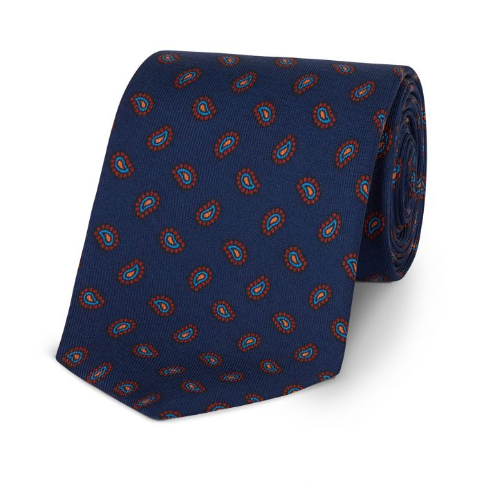 Budd Pine Madder Silk Tie Navy-Necktie-Sterling-and-Burke