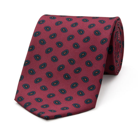 Budd Pine Madder Silk Tie Red