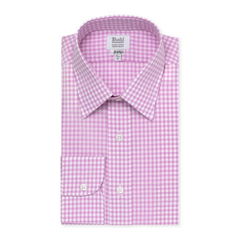Budd Classic Fit Check Zephyr Button Cuff Shirt in Lilac