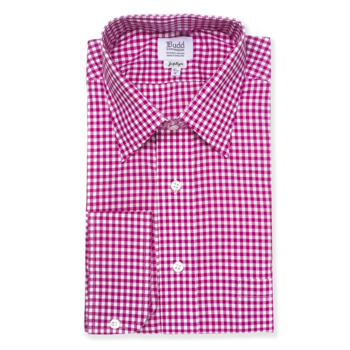 Budd Classic Fit Check Zephyr Button Cuff Shirt in Magenta-Ready Made Shirt-Sterling-and-Burke