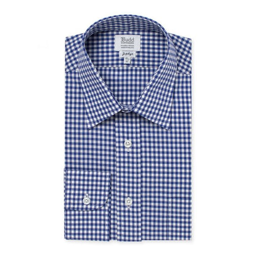 Budd Classic Fit Check Zephyr Button Cuff Shirt in Royal-Ready Made Shirt-Sterling-and-Burke