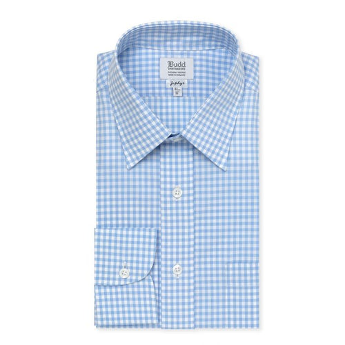 Budd Classic Fit Check Zephyr Button Cuff Shirt in Sky-Sterling-and-Burke