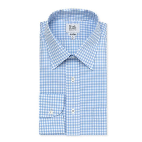 Budd Classic Fit Check Zephyr Button Cuff Shirt in Sky