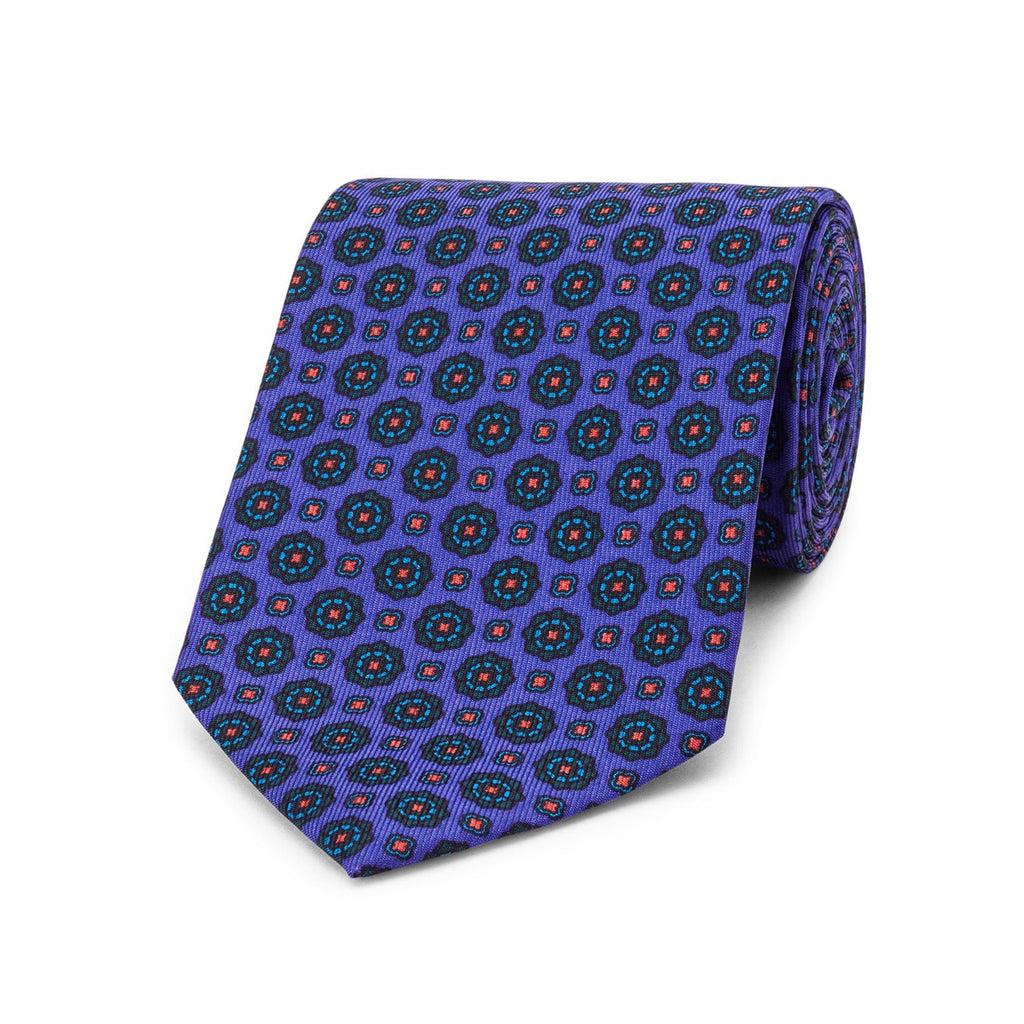 Budd Geometric Floral Madder Silk Tie-Necktie-Sterling-and-Burke