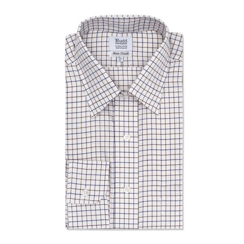 Budd Classic Fit Tattersal Check Italian Twill Button Cuff Shirt in Navy and Brown-Shirt-Sterling-and-Burke