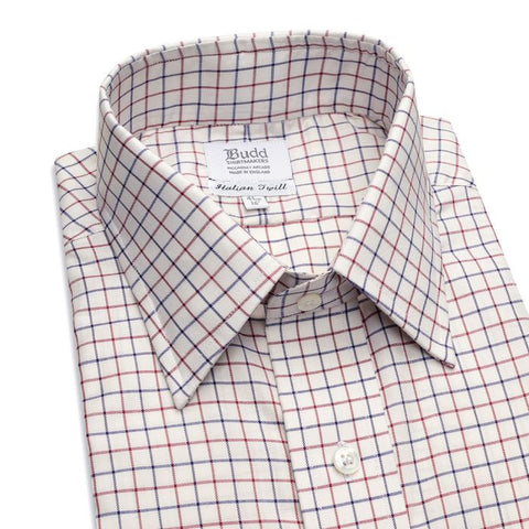 Budd Classic Fit Tattersal Check Italian Twill Button Cuff Shirt in Navy and Wine-Sterling-and-Burke