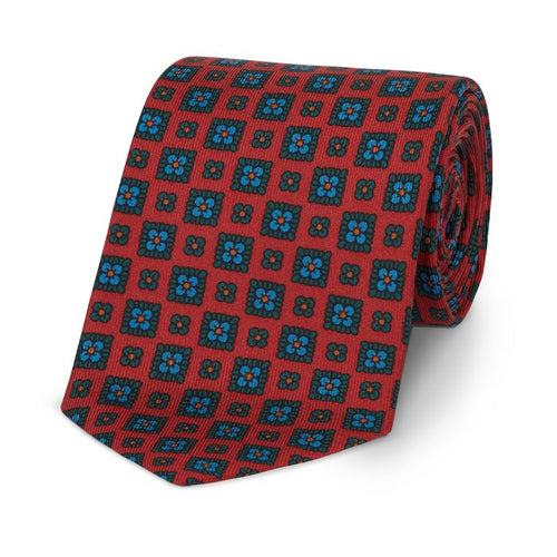 Budd Squared Floral Madder Silk Tie Red and Green-Necktie-Sterling-and-Burke