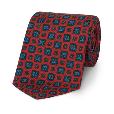 Budd Squared Floral Madder Silk Tie Red and Green