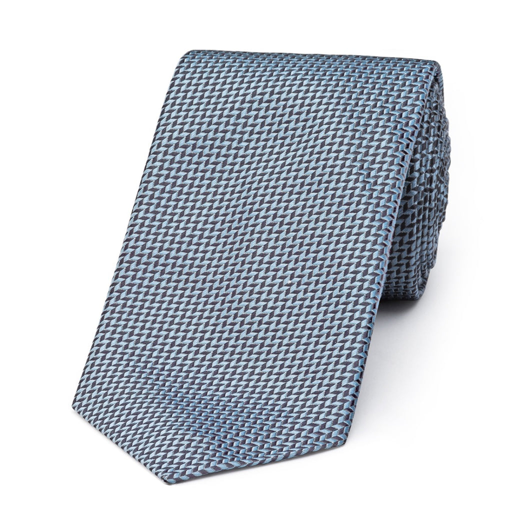 Budd Neat Herringbone Silk Tie in Grey-Necktie-Sterling-and-Burke