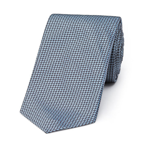 Budd Neat Herringbone Silk Tie in Grey
