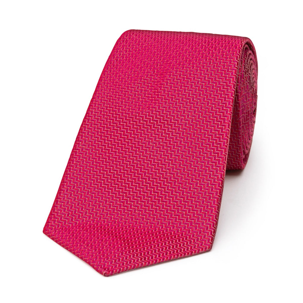 Budd Neat Herringbone Silk Tie in Magenta-Necktie-Sterling-and-Burke