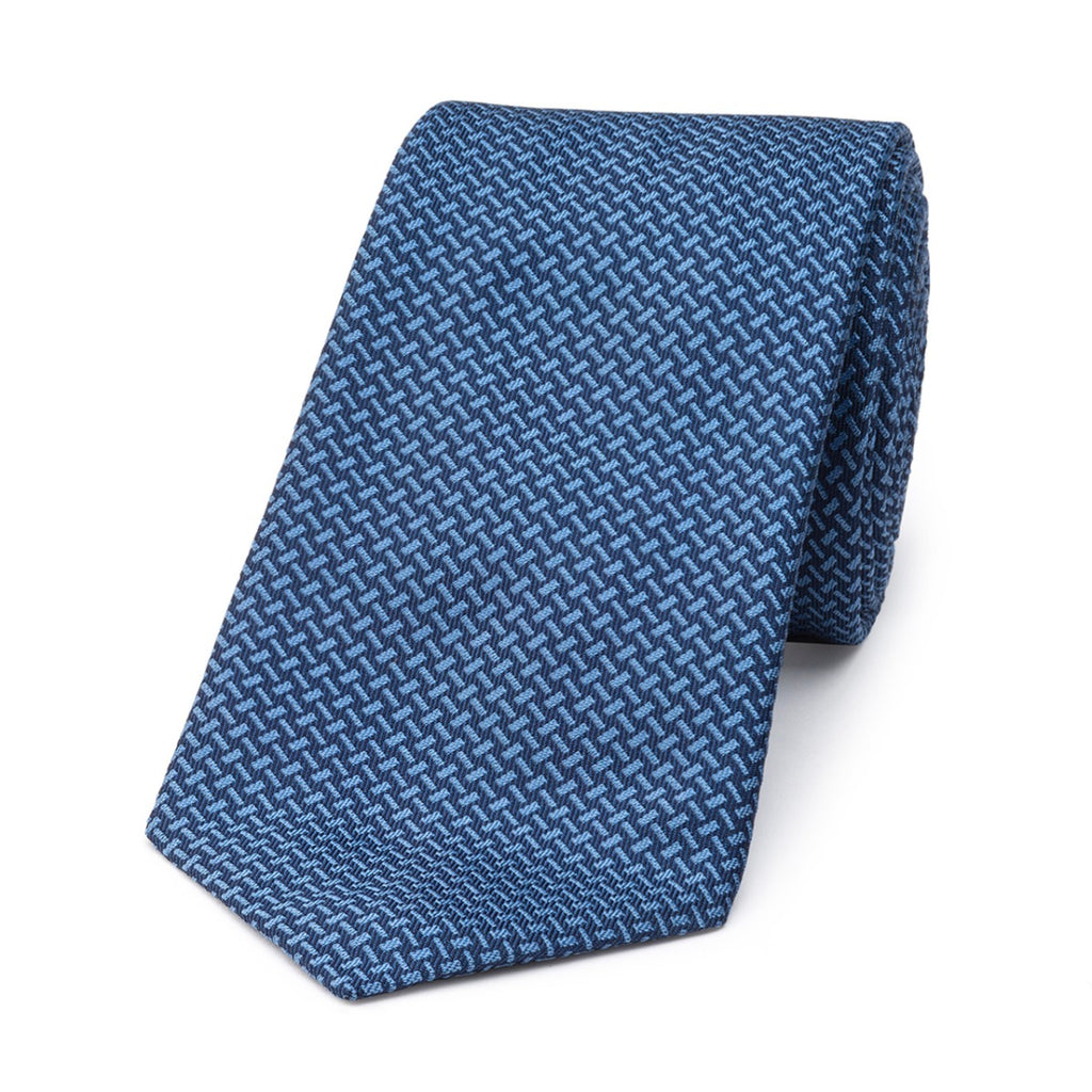 Budd Dashed Lines Silk Tie in Blue-Necktie-Sterling-and-Burke