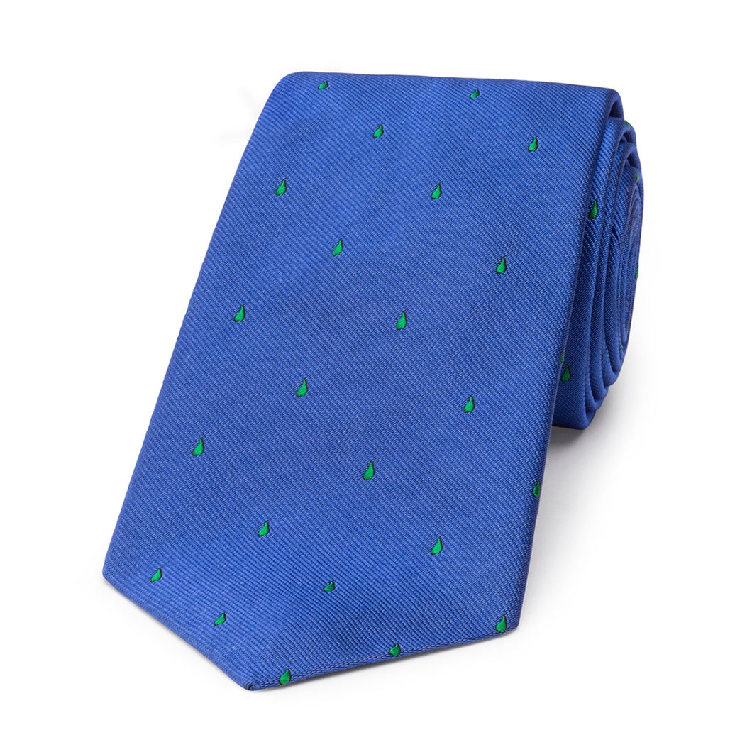 Budd Paisley Drop Motif Silk Tie in Blue & Green-Necktie-Sterling-and-Burke