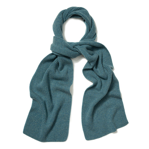 Budd Plain Cashmere Ribbed Scarf in Blue Lovat