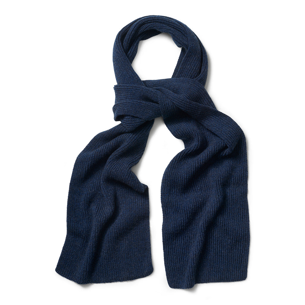 Budd Plain Cashmere Ribbed Scarf in Dark Navy-Scarf-Sterling-and-Burke