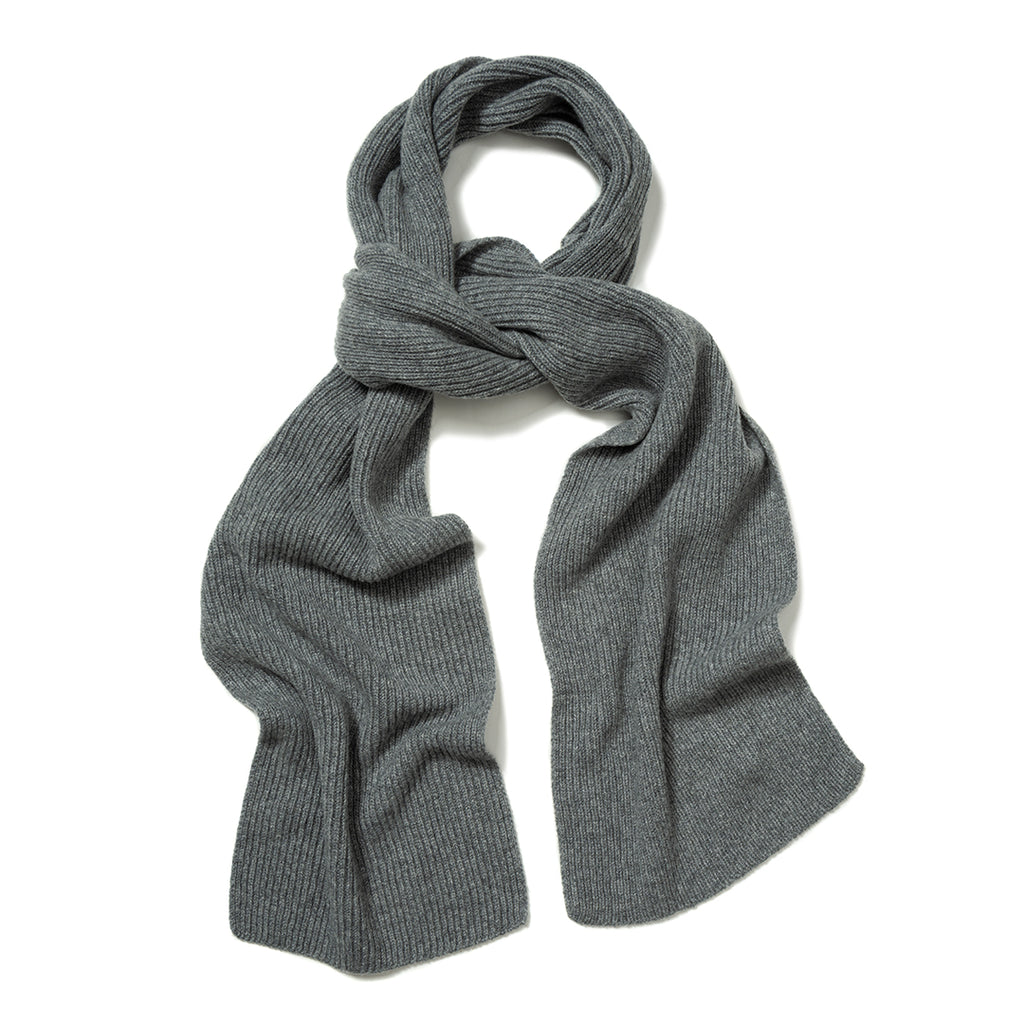 Budd Plain Cashmere Ribbed Scarf in Flannel-Scarf-Sterling-and-Burke