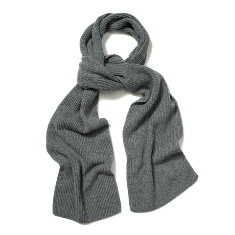 Budd Plain Cashmere Ribbed Scarf in Flannel