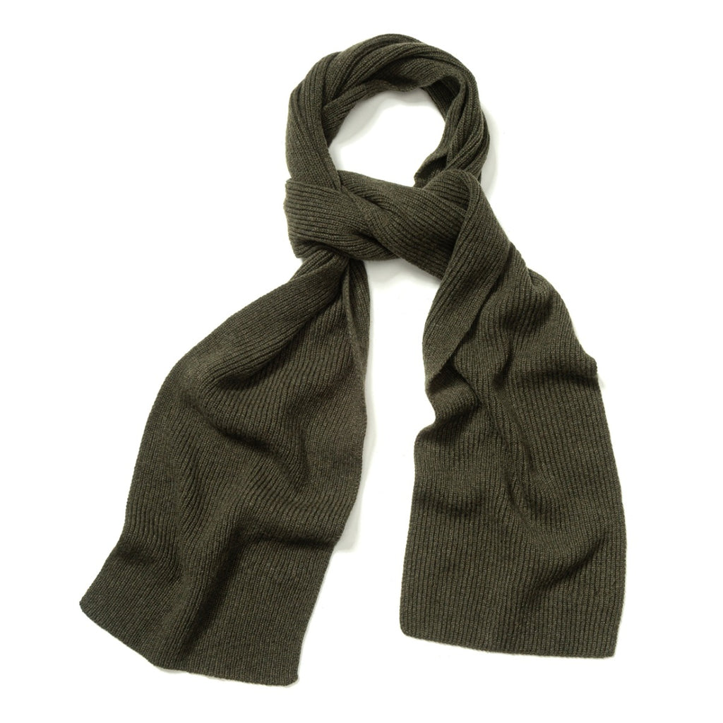 Budd Plain Cashmere Ribbed Scarf in Loden Mix-Scarf-Sterling-and-Burke