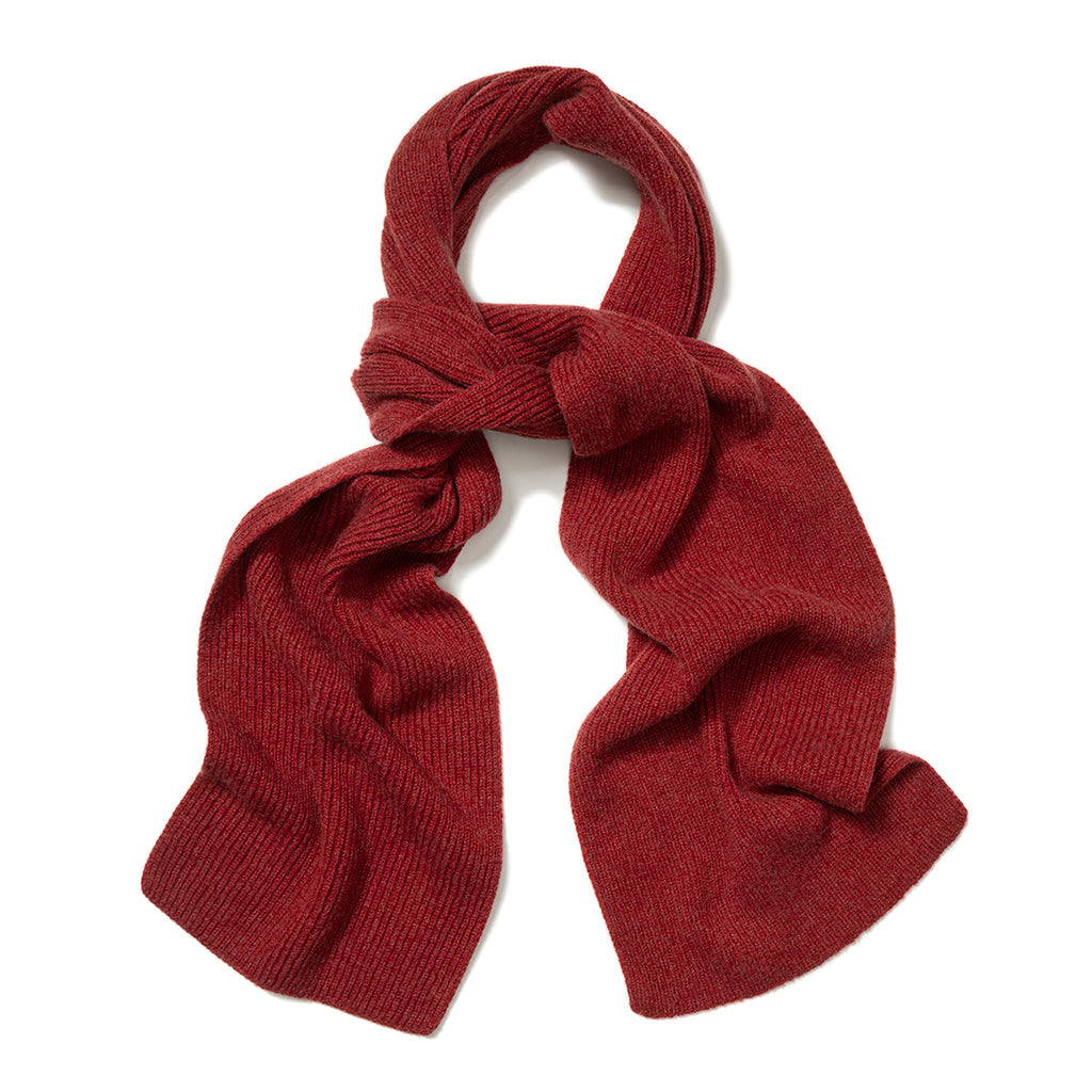 Budd Plain Cashmere Ribbed Scarf in Poppy Mel-Scarf-Sterling-and-Burke