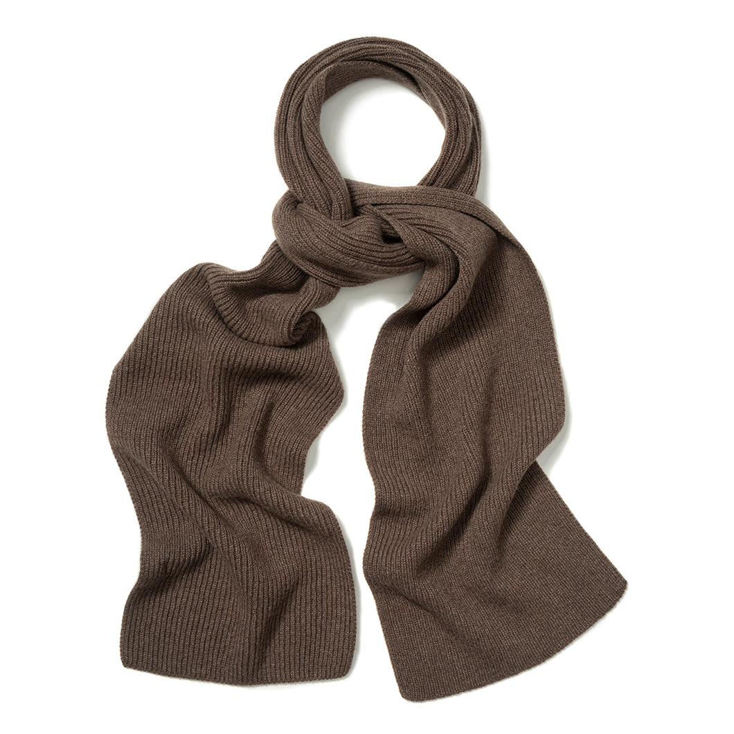 Budd Plain Cashmere Ribbed Scarf in Wilderbeast-Scarf-Sterling-and-Burke