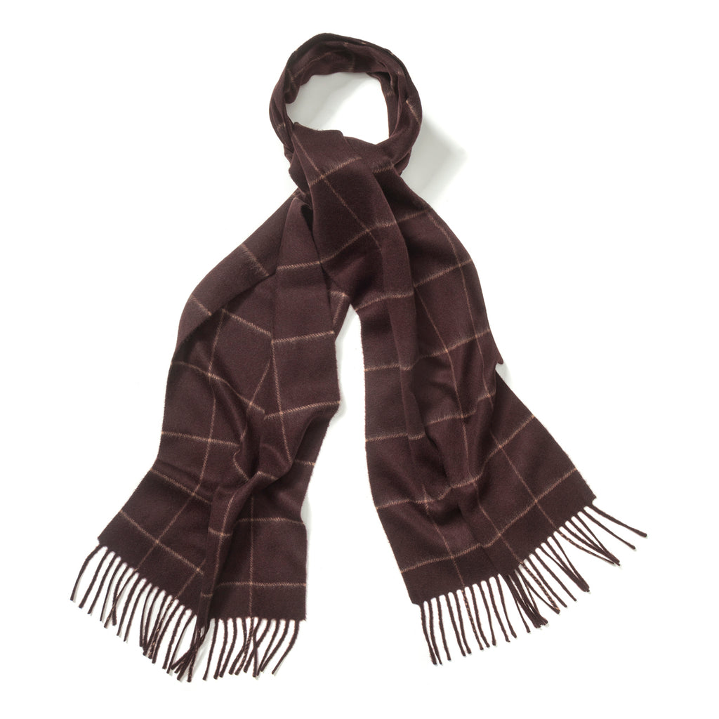 Budd Windowpane Cashmere Scarf in Bourgogne and Fudge-Scarf-Sterling-and-Burke