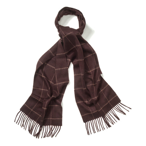 Budd Windowpane Cashmere Scarf in Bourgogne and Fudge