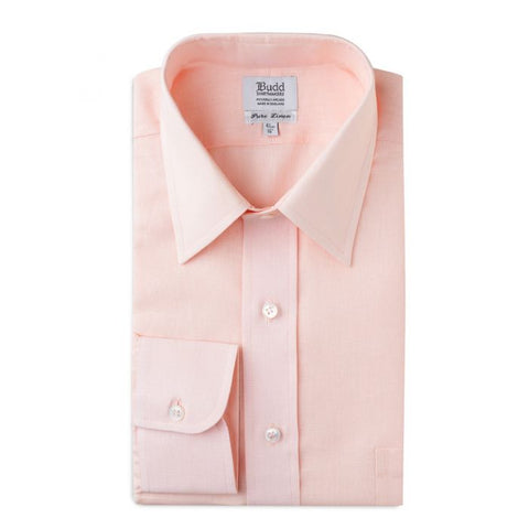 Budd Classic Fit Plain Linen Button Cuff Shirt in Pink Tint