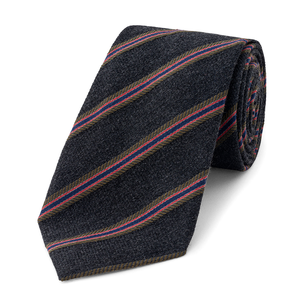 Budd Multi-Stripe On Plain Base Silk Tie in Grey-Necktie-Sterling-and-Burke