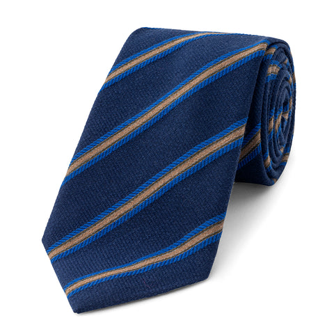 Budd Multi-Stripe On Plain Base Silk Tie in Navy-Necktie-Sterling-and-Burke