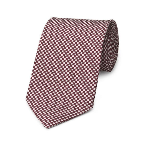 Budd Checkerboard Hopsack Silk Tie in Wine and Cream-Necktie-Sterling-and-Burke