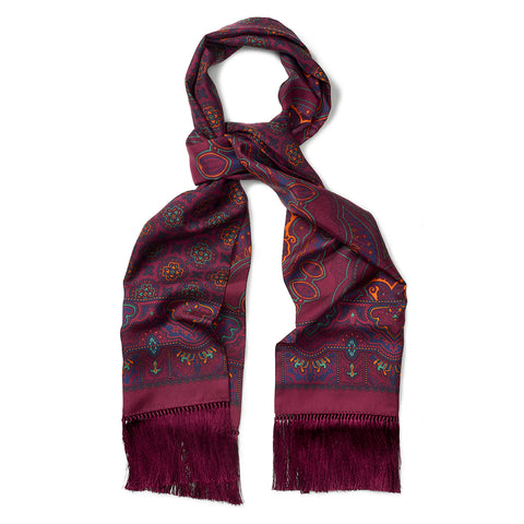Budd Enlarged Paisley & Motif Scarf with Tassels in Burgundy