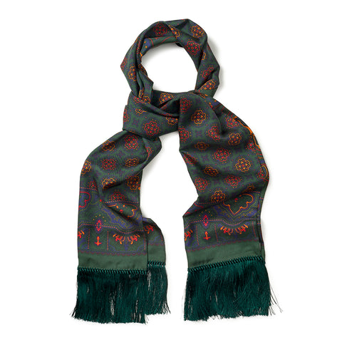 Budd Enlarged Paisley & Motif Scarf with Tassels in Green-Scarf-Sterling-and-Burke