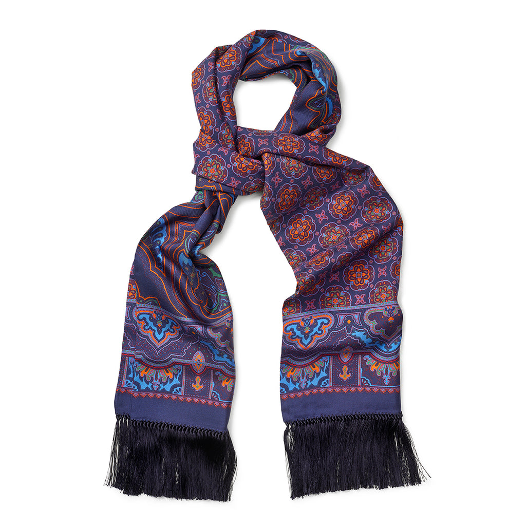 Budd Enlarged Paisley & Motif Scarf with Tassels in Navy-Scarf-Sterling-and-Burke