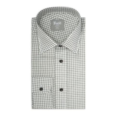 Budd Tailored Fit Small Gingham Brushed Cotton Button Cuff Shirt in Grey