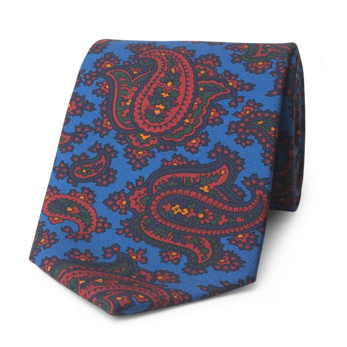 Budd Paisley Madder Silk Tie in Blue-Accessories-Sterling-and-Burke