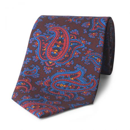 Budd Paisley Madder Silk Tie in Burgundy