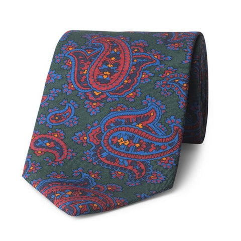 Budd Paisley Madder Silk Tie in Green