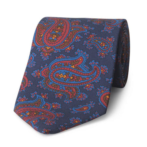 Budd Paisley Madder Silk Tie in Navy-Accessories-Sterling-and-Burke