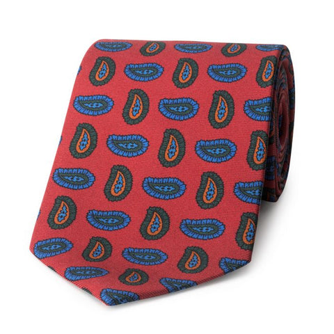 Budd Large Pine Madder Silk Tie in Red-Sterling-and-Burke