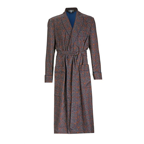 Budd Ornate Paisley Madder Silk Dressing Gown in Navy-Dressing Gown-Sterling-and-Burke