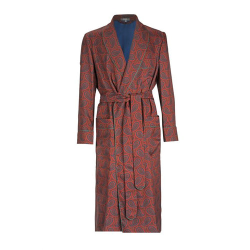 Budd Ornate Paisley Madder Silk Dressing Gown in Red-Dressing Gown-Sterling-and-Burke