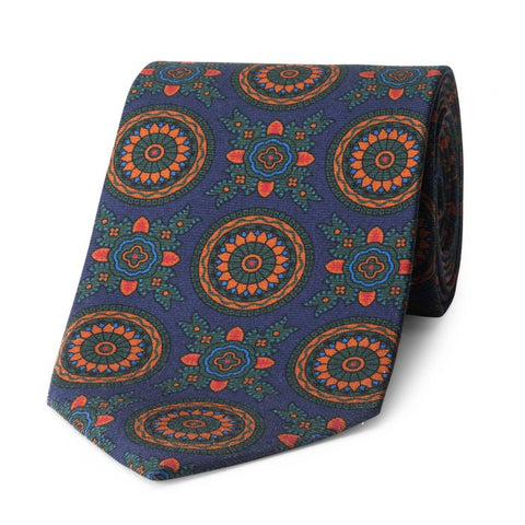 Budd Baroque 40oz Madder Silk Tie in Navy and Green