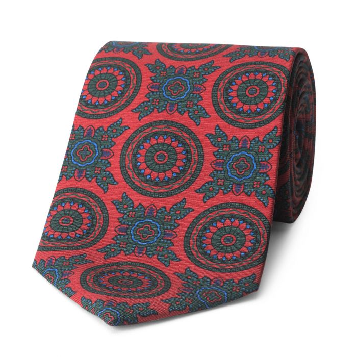 Budd Baroque 40oz Madder Silk Tie in Red-Sterling-and-Burke