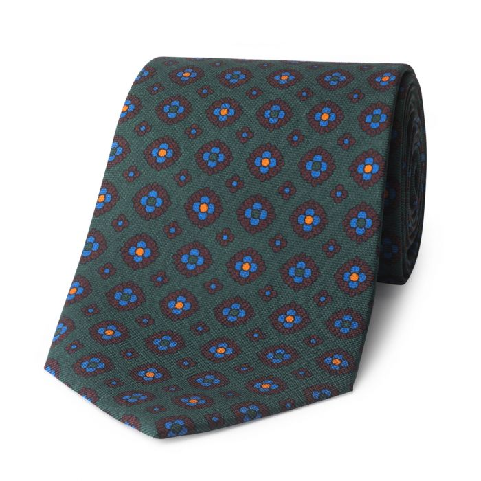 Budd Coffer Madder Silk Tie in Green-Sterling-and-Burke